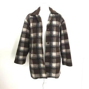 Brown & Cream Plaid Pile Jacket Coat XS
